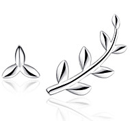 Stud Earrings  New Mismatching Asymmetry Earrings Fashion Silver  Leaf Shape For Women Party  Daily Movie Gift Jewelry