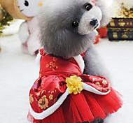 Собака Платья Одежда для собак Свадьба Новый год Вышивка Лиловый Красный