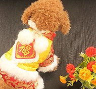 Собака Плащи Одежда для собак Новый год Вышивка Красный