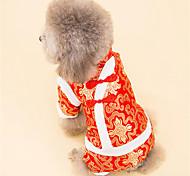 Собака Комбинезоны Одежда для собак На каждый день Новый год Вышивка Белый Черный