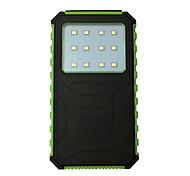 12000mah 12led 5v2a водонепроницаемый банк власти с солнечной зарядкой для мобильного телефона
