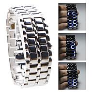 Silvery Metal Strip Digital Lava Style Iron Sport Womens Blue LED Faceless Wrist Watch Cool Watch Unique Watch