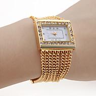 vrouwen-pc beweging gouden band witte wijzerplaat armband horloge met diamant czechic decoratie