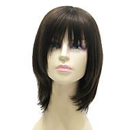 Capless medellång lång svart Silky Straight 100% äkta hår peruk