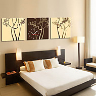 Modern Style Tree Theme Wall Clock in Canvas 3pcs