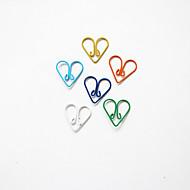 Heart Pattern Plastic Wrapped Paper Clips(10PCS Random Colors)