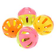 Colorida pelota de plástico de Bell precioso para mascotas (4 piezas)