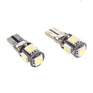 t10 1w 5x5050smd luce bianca ha condotto la lampadina per strumento / luci di posizione laterali auto canbus (12v, 1 coppia)