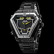 WEIDE 男性 軍用腕時計 リストウォッチ LED カレンダー クロノグラフ付き 耐水 2タイムゾーン アラーム クォーツ 日本産クォーツ ステンレス バンド ラグジュアリー ブラック