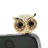 Gold Plated Alloy Zircon Owl Pattern Anti-dust Plug