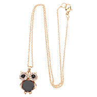 Natural Shell Owl Long Clavicle Drill Point Chain Necklace