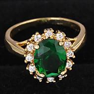 Γυναικεία Εντυπωσιακά Δαχτυλίδια Δαχτυλίδι αρραβώνων Love κοσμήματα πολυτελείας κοστούμι κοστουμιών Ζιρκονίτης Επιχρυσωμένο Round Shape