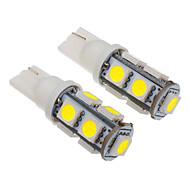 T10 2W 9x5060SMD 100-150LM 6000-6500K Cool White Light LED Bulb for Car (12V)