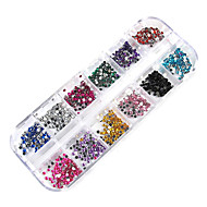 3000pcs 12-kleur 2mm wiel nail art glitter tips strass versieringen