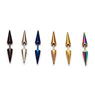 Fashion (Bicone Shape) Multicolor Titanium Steel Stud Earrings(Silver,Black,Blue,Rose,Gold,Multicolor) (1 Pc) Christmas Gifts