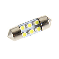Festoon 6-LED 6000K Cool White Light LED Bulb for Car (12V)
