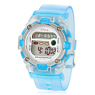 Children's Multi-Functional Round Dial Rubber Band LCD Digital Wrist Watch (Assorted Color)