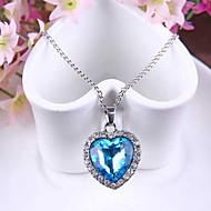 Women's Pendant Necklaces Sapphire Heart Austria Crystal Alloy Love Fashion Movie Jewelry Blue Jewelry ForWedding Party Special Occasion