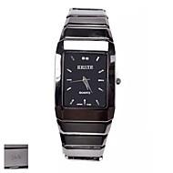 Gepersonaliseerde Gift Heren Vierkant Zwart Dial Tungsten Steel Strap Analog gegraveerd horloge