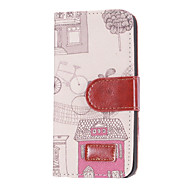 Warm House Pattern Demin Style PU Leather Case with Card Slot and Stand for iPhone 5/5S