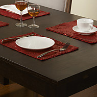 Set of 4 Modern Style Red paljetit Placemats