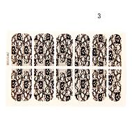 12PCS Flower with Six Petals Shape Black Lace Nail Art Stickers NO.3