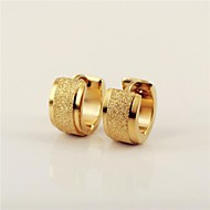 Fashon Men's Gold Scrub  316L Stainless Steel Hoop Earring  Jewelry Christmas Gifts