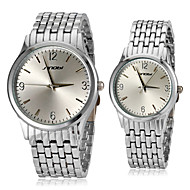 Couple's Simple Round Dial Stainless Steel Band Quartz Analog Wrist Watch (Assorted Colors)