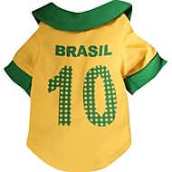 Number 10 BRASIL Pattern Terylene T-Shirt for Pets Dogs (Yellow Assorted Sizes)