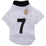 nummer 7 mönster Terylene T-shirt för husdjur hundar (vita diverse storlekar)