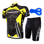 100% Poliéster Amarelo Suit + Black manga curta Ciclismo masculino FJQXZ