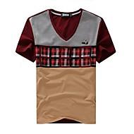 Men's V Neck Casual Plaid Short Sleeve T-Shirt (Random Pattern)