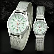 Couple's Round Dial Steel Band Dress Quartz Analog Wrist Watch