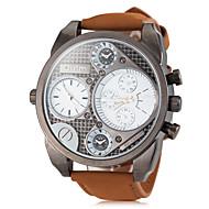 Oulm Herren Militäruhr Armbanduhr Quartz Japanischer Quartz Duale Zeitzonen Leder Band Khaki Weiß Schwarz