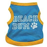 개 티셔츠 블루 강아지 의류 여름 문자와 숫자 캐쥬얼/데일리