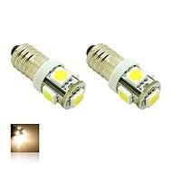 E10 1W 5X5050 SMD Warm White 3000K Lights LED Light Bulb for Diy (DC 12V , 2-Pack)