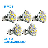 5 pcs GU10 3W 60 SMD 3528 240 LM Warm White MR16 LED Spotlight AC 220-240 V