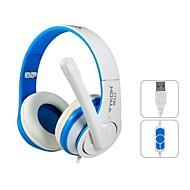 VYKON 뛰어난 USB 플러그에 귀 마이크와 헤드폰 및 1.8 m 케이블 (블루 & 화이트)