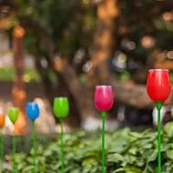 Set of 4 White 2-LED Outdoor Solar Power Tulips Light Garden Yard Pathway Stake Lamp