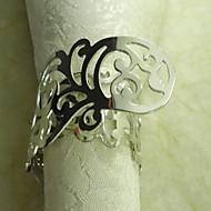 Plating Metal Flower Servett Ring, Metall, 3,5 cm, Set med 12