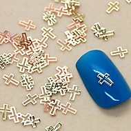 200PCS Cross Shape Metal Slice Golden Nail Art Decoration