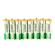 bty 3000mAh Ni-MH AA 8pcs batteries rechargeables