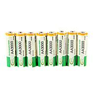 BTY 3000mAhの単三ニッケル水素充電式電池8本