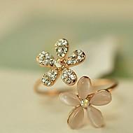 Nauhasormukset jäljitelmä Diamond Metalliseos Flower Shape Päivänkakkara Säädettävä Kultainen Korut Päivittäin