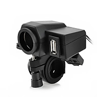 jtron motorsykkel vanntett strømadapter cigrette socket - svart