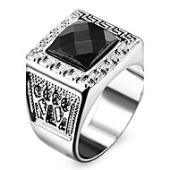 Statement Rings Love Personalized Stainless Steel Acrylic Imitation Diamond Square Geometric Jewelry Silver Jewelry ForWedding Party Gift