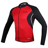SANTIC® 싸이클 져지 남성의 긴 소매 통기성 / 인체 해부학적 디자인 / 자외선 방지 / 높은 호흡 능력(>15.001g) / 빛반사 스트립 / 정전기 방지 자전거 져지 / 탑스 폴리에스터 패치 워크 봄 / 가을 사이클링/자전거