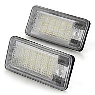 Um par de carros de matrículas lâmpadas lâmpadas brancas 18 SMD luzes led 12v para audi a3 a4 8e rs4 a6 RS6