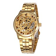 Men's Fashion Skeleton Dial Steel Band Automatic Self Wind Wrist Watch (Assorted Colors)