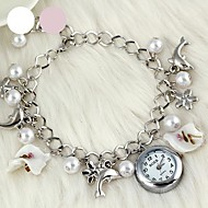 fashionabla kvinnors delfinbladformade pärlor kristallglas armband klocka (1st) (blandade färger)